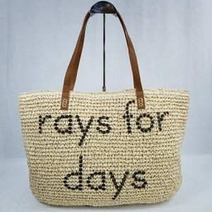 NWT Style & Co Rays,For Days Straw Tote